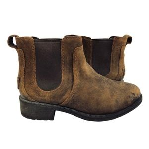 Ugg Bonham II Distressed Leather Booties Brown 7.5